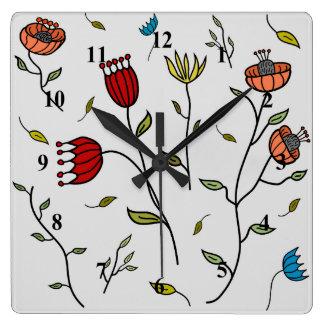 Motif coloré d'impression de fleurs d'épice horloge carrée