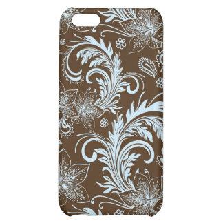 Motif de Brown et de rétro fleur bleue grand Coque Pour iPhone 5C