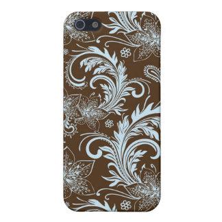Motif de Brown et de rétro fleur bleue grand iPhone 5 Case