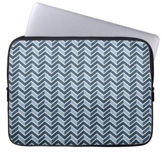 Motif de Chevron de bleu marine Housse Pour Ordinateur Portable