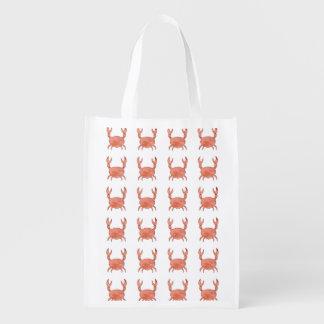 Motif de crabe sacs d'épicerie réutilisables