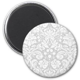 Motif de damassé de gris argenté magnet rond 8 cm