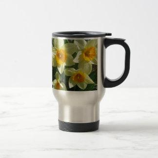 Motif de fleur jaune mug de voyage en acier inoxydable