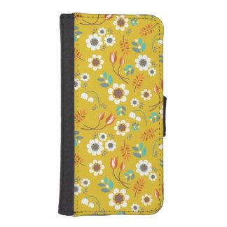 Motif de fleurs floral de jaune vintage de coques avec portefeuille pour iPhone 5