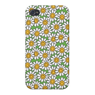 Motif de fleurs souriant de marguerite étuis iPhone 4