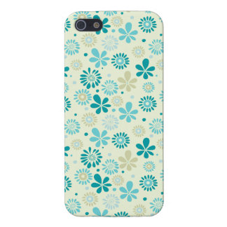 Motif de fleurs turquoise mignon d'abrégé sur bleu coques iPhone 5