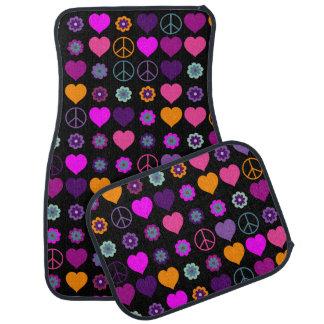 Motif de paix de coeur de flower power + votre tapis de sol