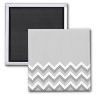 Motif de zigzag gris et blanc. Gris simple de part Magnet Carré