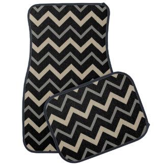 Motif de zigzag noir, beige et gris tapis de voiture