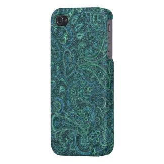 Motif fleuri vintage de Paisley de tons verts Étuis iPhone 4