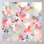 Motif floral chic d'aquarelle turquoise rose roman affiches