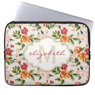 Motif floral chic Girly avec le nom de monogramme Housse Pour Ordinateur Portable
