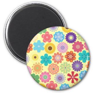 Motif floral coloré Girly de flower power Magnet Rond 8 Cm