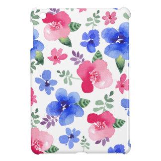 Motif floral d'aquarelle rouge et bleue coques iPad mini