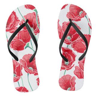 Motif floral de champ rouge de pavot de souvenir tongs