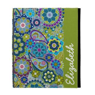 Motif floral génial avec le nom étuis iPad folio
