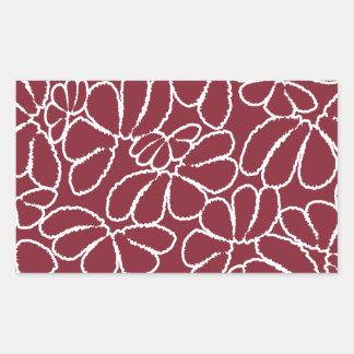Motif floral lunatique cramoisi de griffonnage de sticker en rectangle
