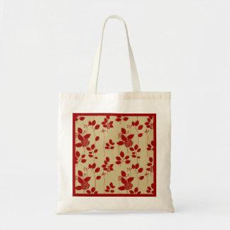Motif floral rouge Fourre-tout Sac En Toile Budget
