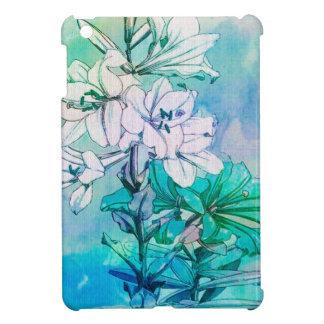 Motif floral turquoise étui iPad mini