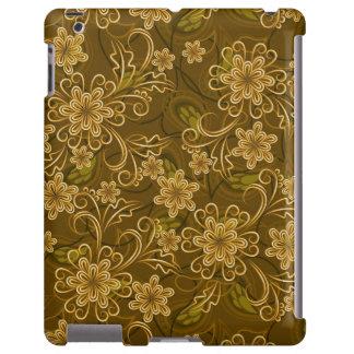 Motif floral vintage d'or coque iPad