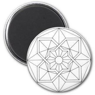 Motif géométrique frais magnet rond 8 cm