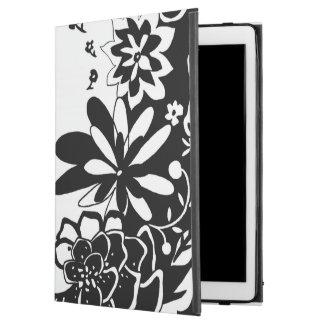 Motif graphique de jardin floral noir et blanc