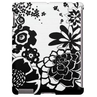 Motif graphique de jardin floral noir et blanc coque iPad