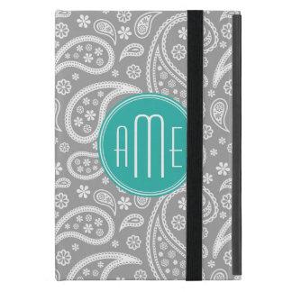 Motif gris floral chic de Paisley et monogramme bl Coques iPad Mini