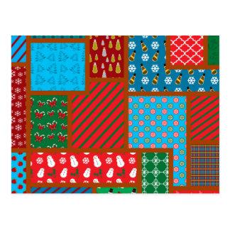 Motif laid de carré de Noël Cartes Postales