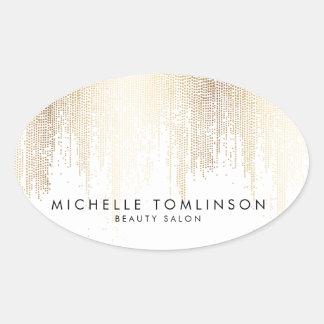 Motif Luxe de pluie de confettis d'or de Faux Sticker Ovale