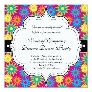 motif moderne floral coloré de flower power des carton d'invitation  13,33 cm