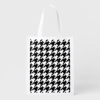 Motif noir et blanc de zag sacs d'épicerie réutilisables