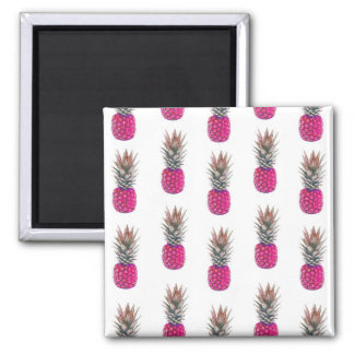 Motif rose mignon d'ananas magnet carré