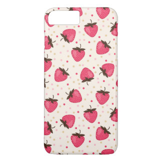 Motif rose mignon et Girly de fraises Coque iPhone 7 Plus