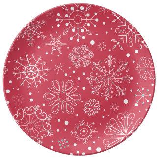Motif rouge drôle de flocons de neige assiettes en porcelaine