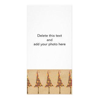 Motif rustique d'arbres de Noël Cartes De Vœux Avec Photo