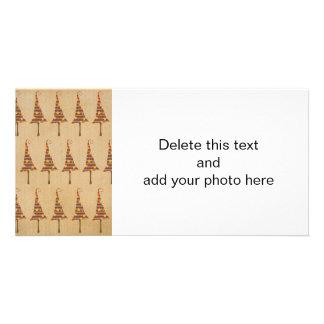 Motif rustique d'arbres de Noël Modèle Pour Photocarte