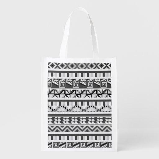 Motif tribal aztèque abstrait géométrique gris sacs d'épicerie réutilisables