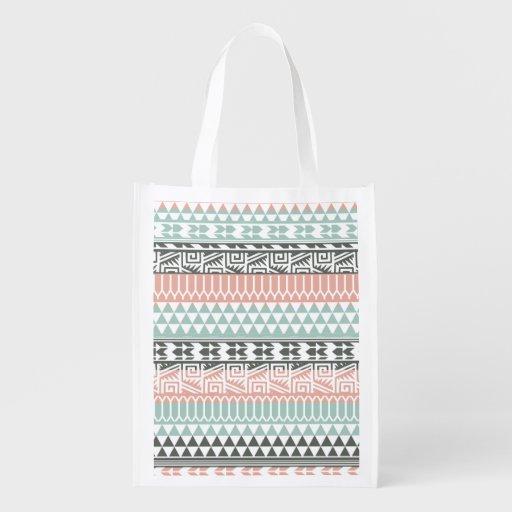 Motif tribal aztèque d'impression d'abrégé sur sacs d'épicerie réutilisables