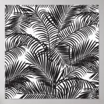 Motif tropical noir moderne de palmiers poster