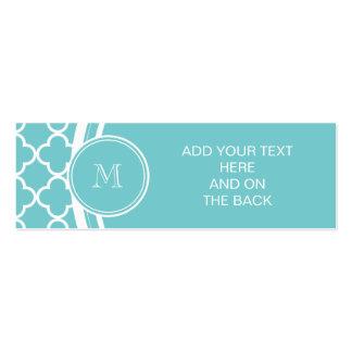 Motif turquoise de Quatrefoil, votre monogramme Modèles De Cartes De Visite