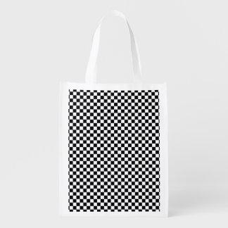 Motif vérifié sacs d'épicerie réutilisables