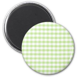 Motif vert en pastel de guingan magnets pour réfrigérateur
