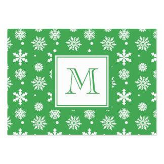 Motif vert et blanc 1 de flocons de neige avec le  modèles de cartes de visite