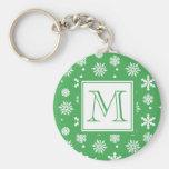 Motif vert et blanc 1 de flocons de neige avec le  porte-clés