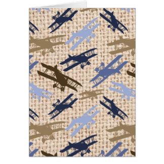 Motif vintage d'avion d'impression de toile de carte de vœux