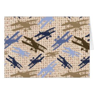 Motif vintage d'avion d'impression de toile de carte de correspondance