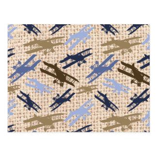 Motif vintage d'avion d'impression de toile de cartes postales
