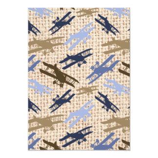 Motif vintage d'avion d'impression de toile de carton d'invitation  12,7 cm x 17,78 cm