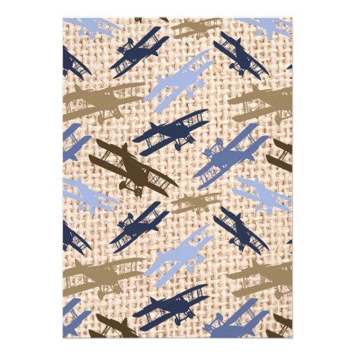 Motif vintage d'avion d'impression de toile de bristols personnalisés